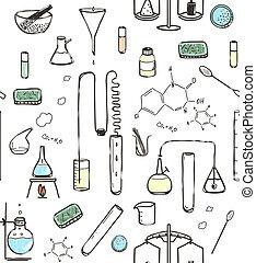 Chemical Laboratory Seamless Pattern - Hand drawn lab tools...