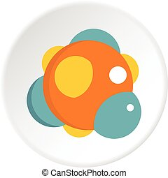 Chemical laboratory transparent flask icon circle