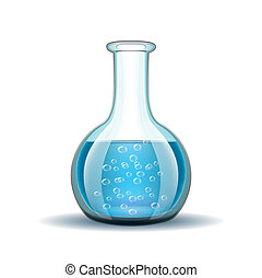 Chemical laboratory transparent flask with blue liquid isolated on white. Vector illustration