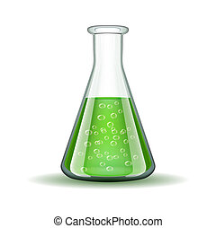 Chemical laboratory transparent flask with green liquid isolated on white. Vector illustration
