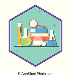 Laboratory equipment. Chemical and physical science experiments, research. Flat vector cartoon illustration. Objects isolated on a white background.