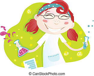 Warning! Girl is making chemical experiment :) Vector Illustration. See similar pictures in my portfolio!