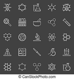 Chemical line icons collection