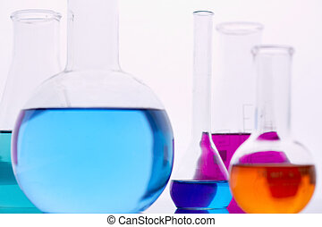 Chemical liquids - Image of several flasks with multi-color ...