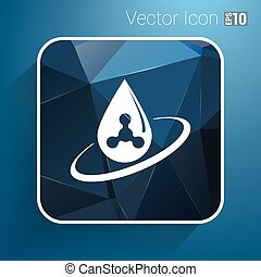 chemical logo icon drop water element formula symbol atom