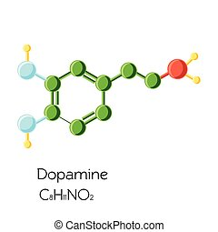 Chemical molecular formula hormone dopamine. The hormone of...