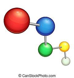 Chemical molecule icon, cartoon style