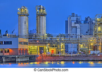 Chemical plant - Chemical production facility on a river ...