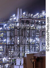 Chemical plant - Colorful chemical plant at night with light...