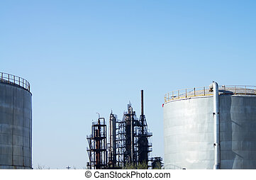 Chemical plant cooling tower - The metal pipelines...