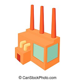 Chemical plant icon, cartoon style