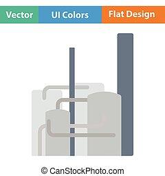 Chemical plant icon. Flat design. Vector illustration.