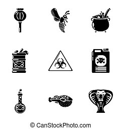 Chemical poison icons set, simple style