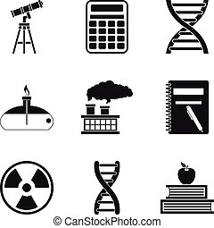 Chemical pollution icons set, simple style