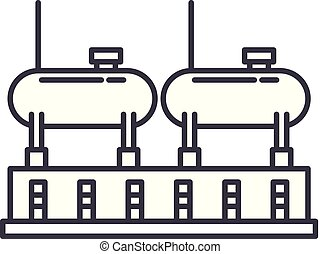 Chemical production line icon concept. Chemical production vector linear illustration, symbol, sign