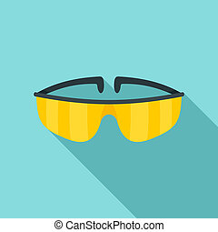 Chemical protect glasses icon, flat style