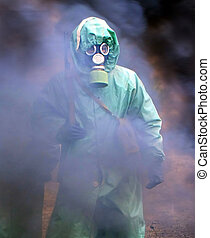 chemical protection - soldiers in chemical protection suites...