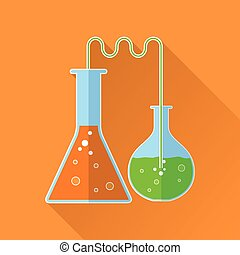 Chemical reaction flat icon