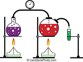 Chemical reaction - Laboratory burner and flask on white...