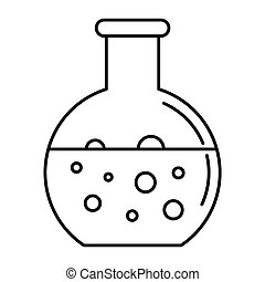 Chemical round flask icon, outline style