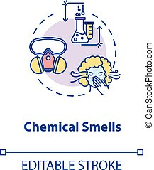 Chemical smells concept icon. Flawed wine fermentation indication idea thin line illustration. Recognizing spoiled drink by acetone scent. Vector isolated outline RGB color drawing. Editable stroke