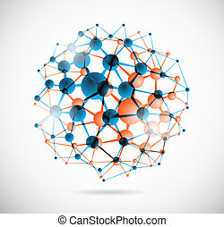 Abstract image of the molecular structure in the form of a sphere. Eps 10