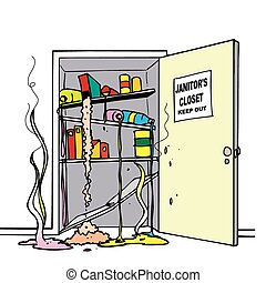 chemical spills closet - A janitorial closet with a massive...