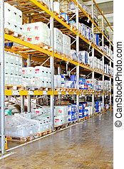 Chemical storage rack - Storage rack in warehouse with...