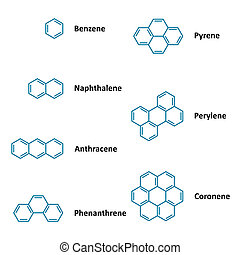 Chemical structural formulas - Set of vector polyaromatic...