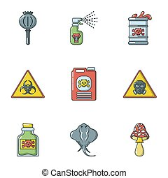 Chemical structure icons set, cartoon style