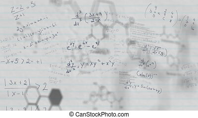 Chemical structures and mathematical equations against white...