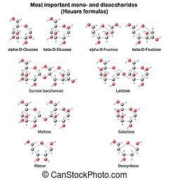 Chemical structures of sugars