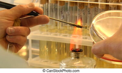 chemical test - thermal test of sample in chemical...