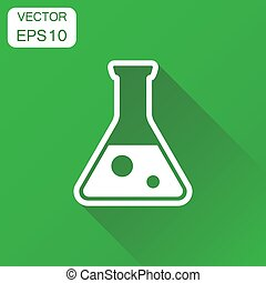 Chemical test tube icon. Business concept experiment flasks pictogram. Vector illustration on green background with long shadow.