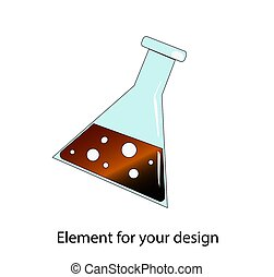 Chemical test tube. Stationery. School supplies. illustration on a white background. Element for your design..