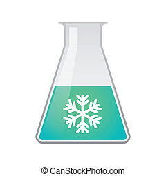 Chemical test tube with a snow flake - Illustration of a...
