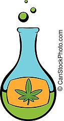 Chemical test tube with marijuana leaf icon