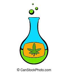 Chemical test tube with marijuana leaf icon in cartoon style...