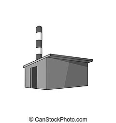 Chemical warehouse icon, black monochrome style