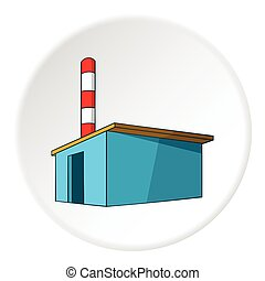 Chemical warehouse icon, cartoon style