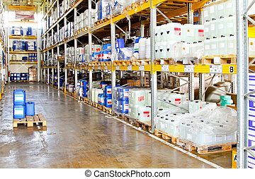Chemical warehouse - Long rack in warehouse with chemical...