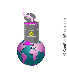 Chemical waste Barrel and earth. Pollution of planet. Nuclear waste. cask of poison. Pollution of environment.