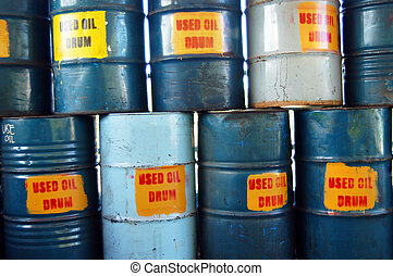Chemical Waste - Drums of used oil from power plant in the...