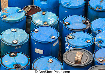 Chemical waste dump with a lot of barrels - Photo of a...