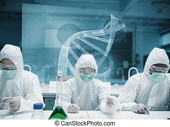 chemici, werkende , in het labo, met, futuristisch,...