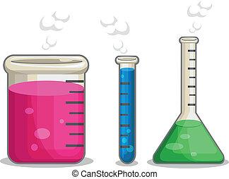 chemiczny, kolba, laboratorium