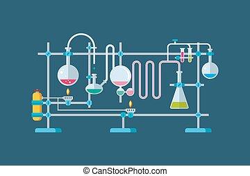 chemiczny, laboratoryjne zaopatrzenie, obiekty, z, niejaki,...
