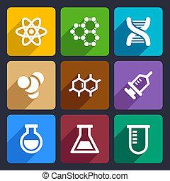 chemiczny, płaski, ikony, komplet, 50