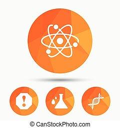chemie, aufmerksamkeit, dns, icons., flask.