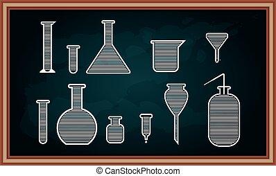chemie, chalkboard., set, uitrusting, school